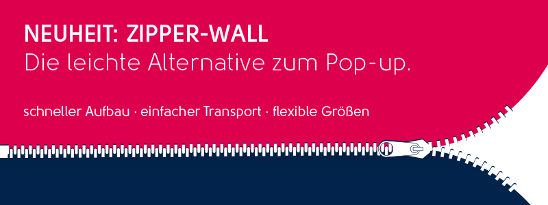 Zipper-Wall, Textildisplay, Stoffwand